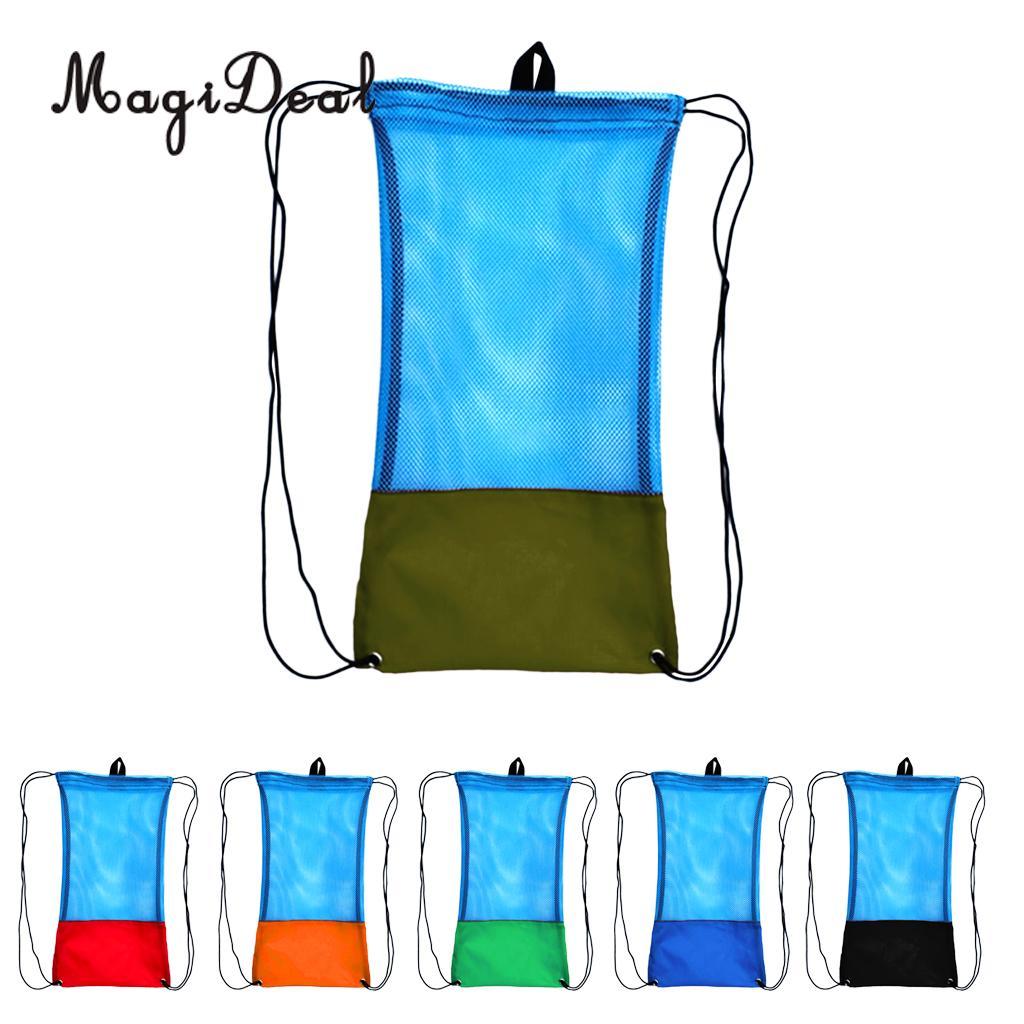 купить MagiDeal Drawstring Backpack Mesh Gear Bag w/ Shoulder Strap for Scuba Diving Swim Fins Goggles Mask Snorkeling Equipment недорого