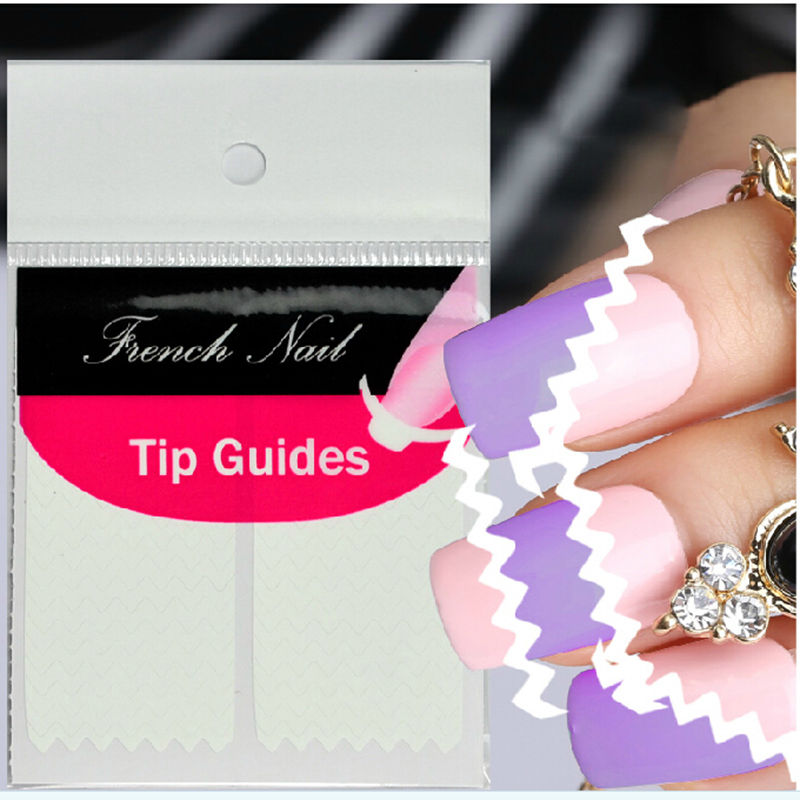 1 Sheet Women DIY Wave Edge Nails Stickers Tips Guide French ...