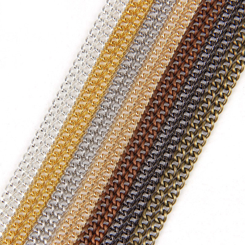 0.8x3x3.5mm Metal Necklace Chains 7Colors 5m/lot Bulk Fit Bracelets Findings Metal Link Chain For Jewelry Accessories