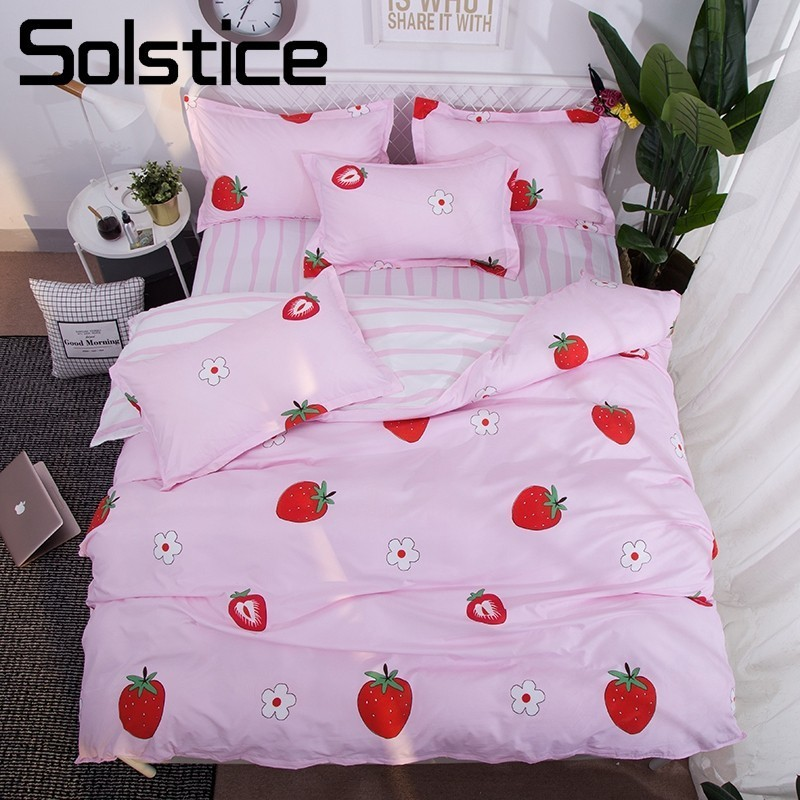 Solstice Home Textile Strawberry Lovely Pink Girls Bedding Sets Kid Child Teen Bed Linen 3/4Pcs Pillowcase Bed Sheet Duvet Cover