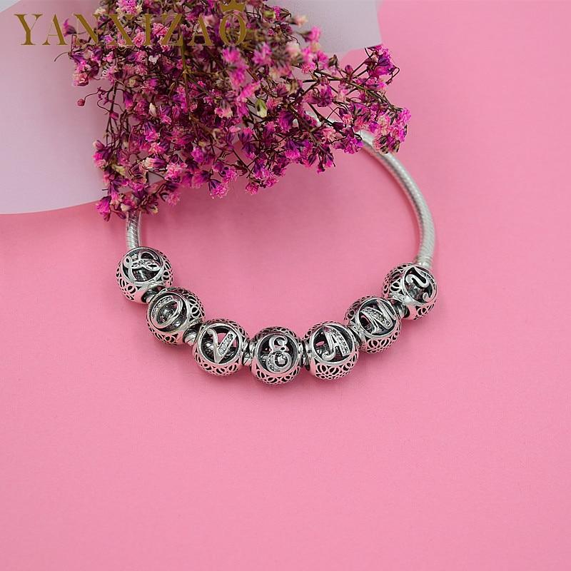 Yanxizao 925 Silver European CZ Charm Beads Fit Pandora Style Alphabet Dates Numbers Bracelet Beads High Quality Jewelry x16