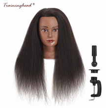 "Traininghead 16 ""100% Real Hair Mannequin Head Frisörsutbildning Doll Head Manikin Cosmetology Salon För Makeup Practice Head"