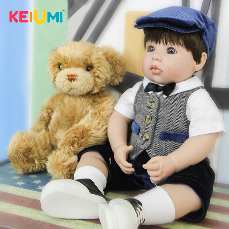 KEIUMI 20 cm Silicone Vinyl Reborn Baby Boy Realistic Alive Newborn Babies Doll Big Eyes Ethnic bebe Toddler For kids Xmas Gifts keiumi 22 55 cm realistic baby alive boy doll soft silicone vinyl lifelike reborn doll toy for toddler birthday xmas gifts
