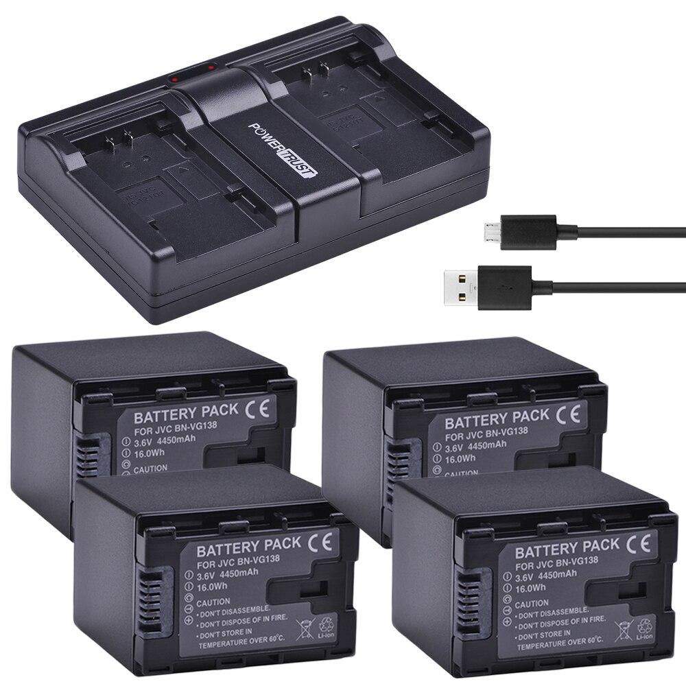 4x4450 mAh BN-VG138 MILLIARDS VG138 BNVG138 Batterie + Rapide Double Chargeur De Batterie Pour JVC GZ E10 E100 E245 E265 E565 E575 GX1 G3X G5 GX8