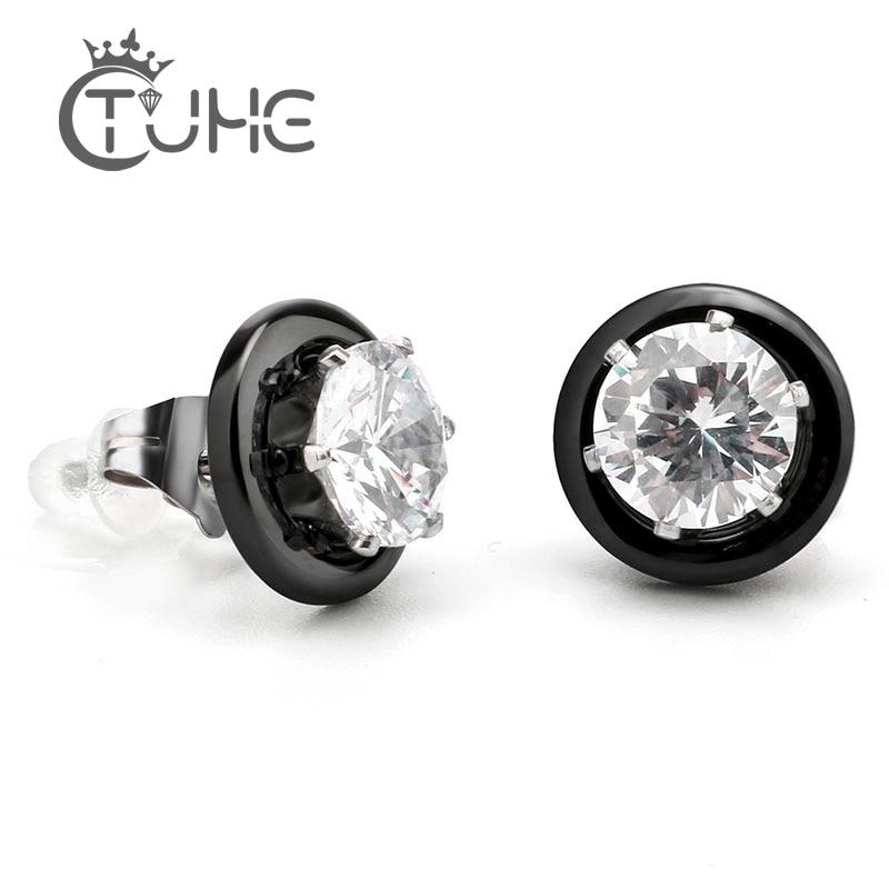 ახალი ჩამოსვლის შავი თეთრი კერამიკული საყურეები ქალის საყურეები მოდის სამკაულები 2 Carat კრისტალი Stud ვერცხლის საყურეები საქორწილო საჩუქარი
