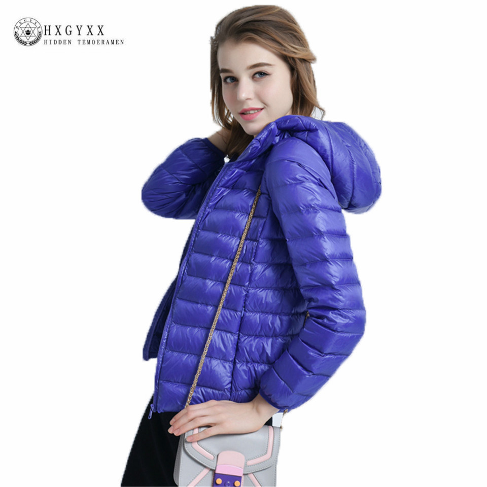 2019 Winter Jacket Women Ultra Light 90% White Duck   Down     Coat   Warm Hooded Short Outerwear Slim   Down   Parkas New Overcoat Ok408