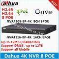 Original Inglês versão 4 K 8ch NVR 16 ch Dahua 1U Network Video Recorder NVR4208-8P-4K NVR4216-8P-4K com 8 portas PoE