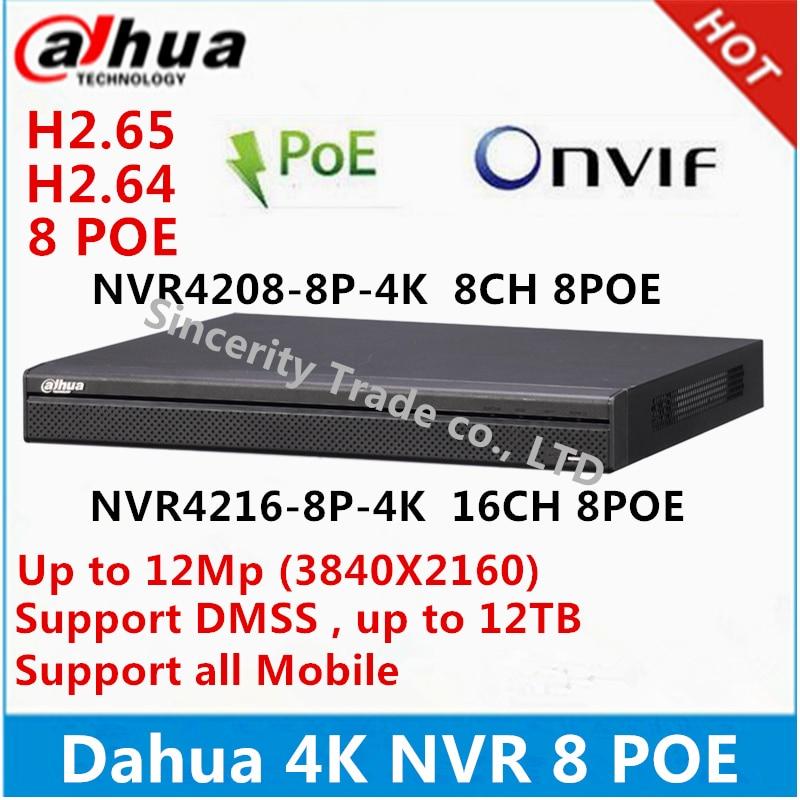 original Dahua English version 4K NVR 8ch 16 ch 1U Network Video Recorder NVR4208-8P-4K NVR4216-8P-4K with 8 PoE ports