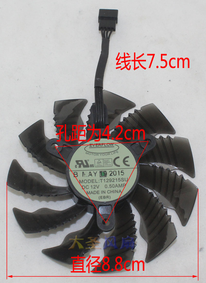 New Original for Gigabyte GTX960/970 DC12V 0.5A T129215SU 85MM 4pin temperature control graphics card cooling fan 1PCS new original 95mm pld10010s12hh 6pin graphics video card cooler fan for msi gtx 980 970 960 gaming dual fans twin cooling fan
