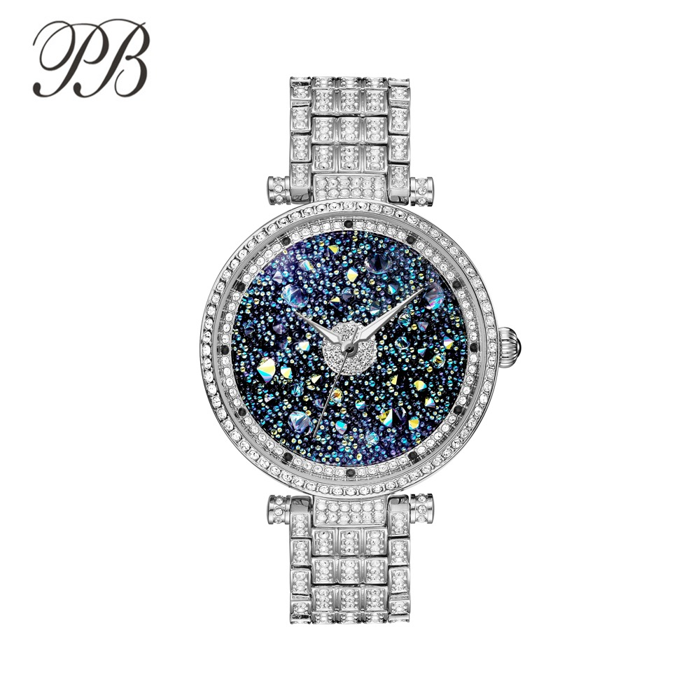 PB Princess Butterfly Fashion Mewah Berlian Imitasi Tahan Air Kristal Quartz Watches Wanita HL639