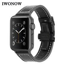 IWonow correa de reloj de cuero para iWatch Apple Watch 38mm 40mm 42mm 44mm serie 5 4 3 2 1 hombres mujeres Correa deportiva pulsera de muñeca