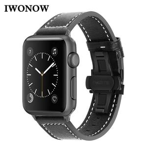 Image 1 - iWonow Leather Watchband for iWatch Apple Watch 38mm 40mm 42mm 44mm Series 5 4 3 2 1 Men Women Band Sports Strap Wrist Bracelet
