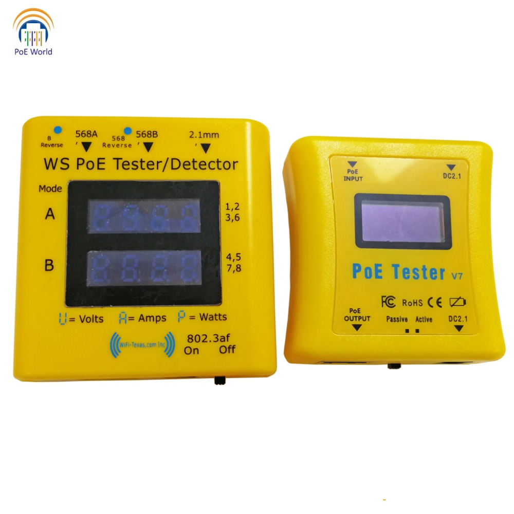 PoE World CCTV Tools PoE tester PoE Detector LED Display Testers Inline Power over Ethernet Voltage and Current Tester-in Transmission & Cables from Security & Protection