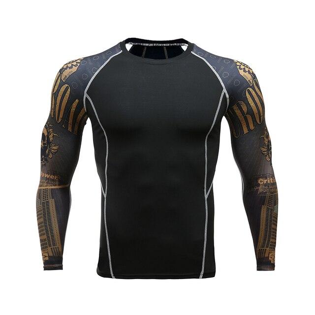Mężczyzna kompresji koszule 3D nastolatek wilk koszulki z długim rękawem T Shirt Fitness mężczyzn Lycra MMA Crossfit koszulki rajstopy odzież marki