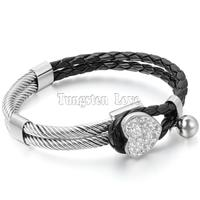 Womens Leather Stainless Steel Bracelet Rhinestone Heart Charm Braided Cuff Bangle Black Silver Pulseira Masculina Couro