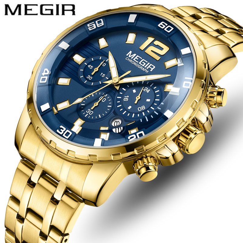 <font><b>MEGIR</b></font> Top Brand Men's Analog Quartz Watches Men Luxury Business Watch Fashion Gold Blue Waterproof Wristwatch Relogio Masculino image