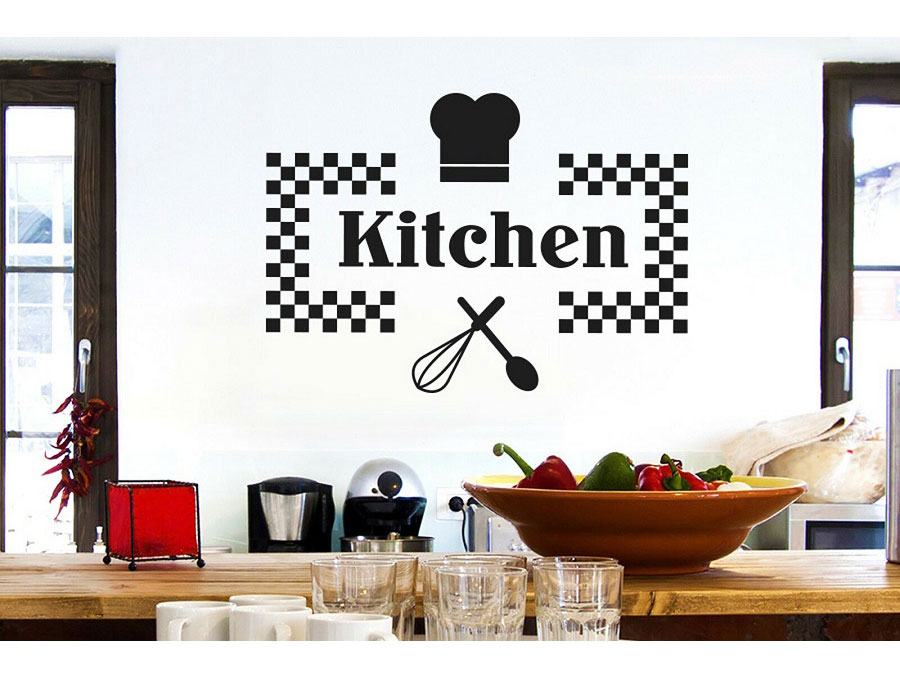 Customizable Name Vinyl Sticker Kitchen Restaurant Home Decor DIY Removable Wall Sticker CF13 in Wall Stickers from Home Garden