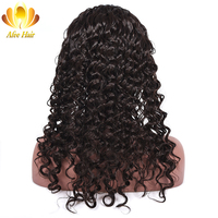 Ali Afee Full Lace Human Hair Wigs Deep Wave Brazilian Non Remy Human Hair Wig With