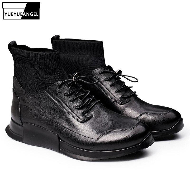 Zapatos de calcetín casuales de hombre de cuero genuino de alta altura de tobillo de deslizamiento en zapatillas de deporte de lujo botas de marca masculina de otoño negro zapatos planos zapatos