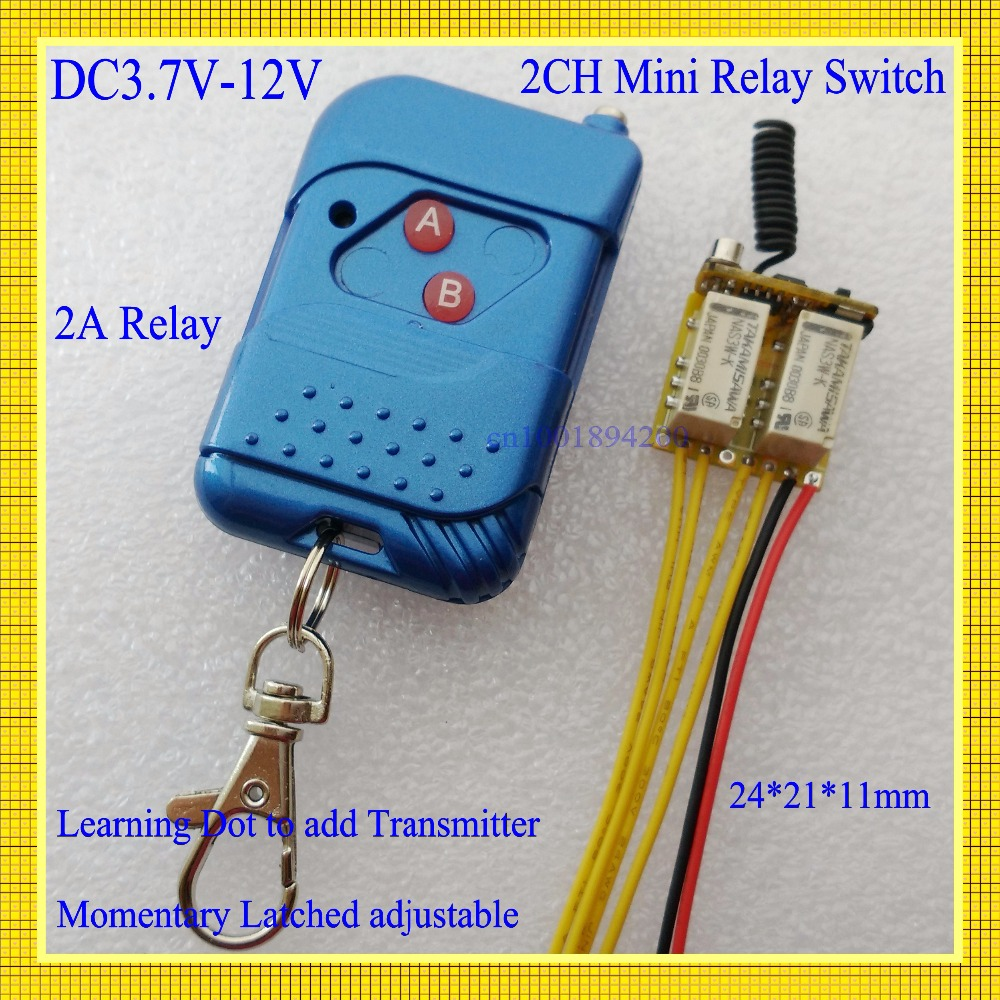 DC 3.7V-12V 2CH Relay Remote Switch 2A Relay Wireless Switch 2Way NO COM NC Output 0V Switching Mini Micro Relay Momentary Latch 4v 4 2v 5v 6v 7 4v 8v 9v 12v micro relay remote switch receiver no com nc output switching smart home ask learning coderm2rm pro