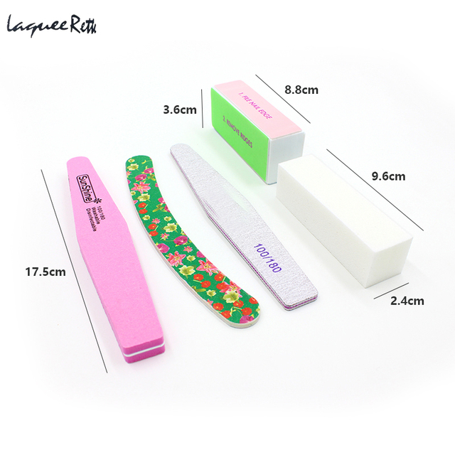 5pcs Professional Nail File Set Buffers Durable Buffing Grit Sand ...