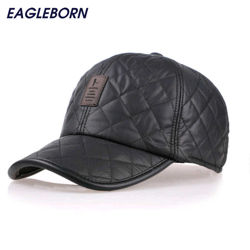 ... NEW Fashion 6 Panel Fitted Baseball Cap Men s Winter Hats with Ears  Keep Warm Cotton Lining ... 47ac2ae283f0