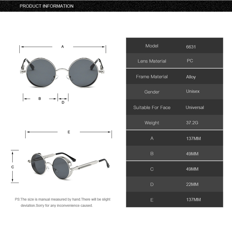 e398181030 Steampunk Mirrored Round Metal Unisex Retro Sunglasses