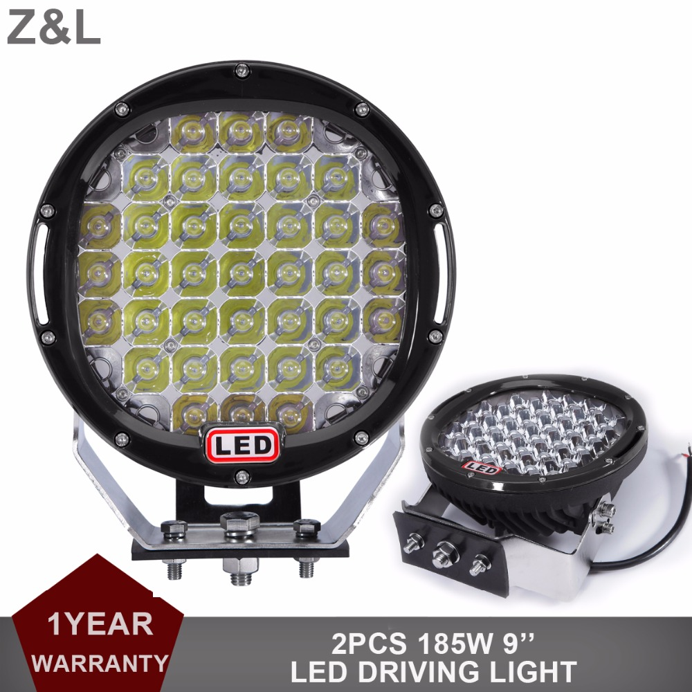 2pcs 9 Round 185W LED Driving Light 12V 24V 4WD ATV UTE SUV Offroad Car Tractor Boat 4X4 Truck Pickup Fog Work Lamp Headlight