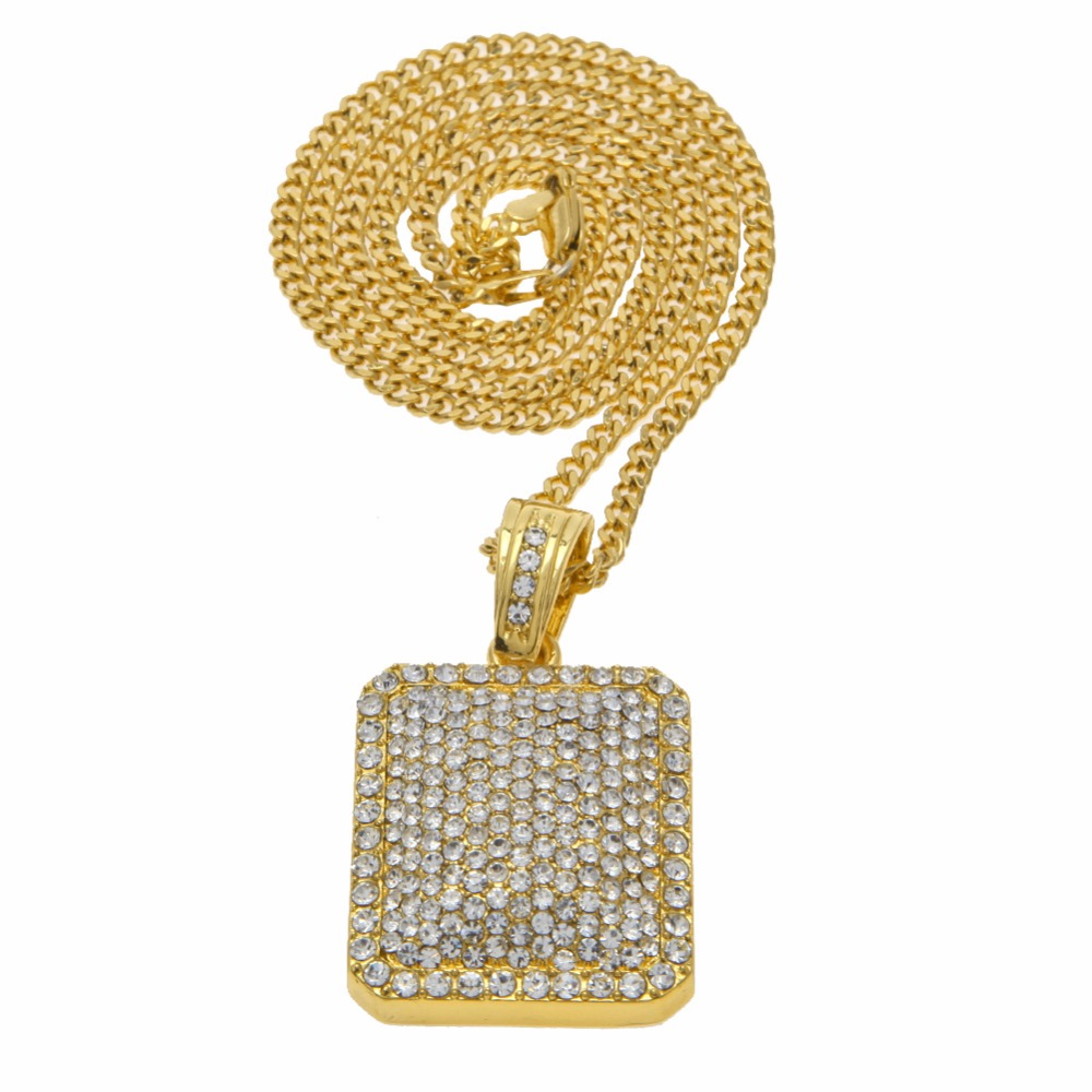 Classic Full Iced Out CZ Gold Silver Plated Square Dog Tag Pendant 5mm*30'' / 3mm*24 Cuban Chain Hip Hop Blingbling Necklace