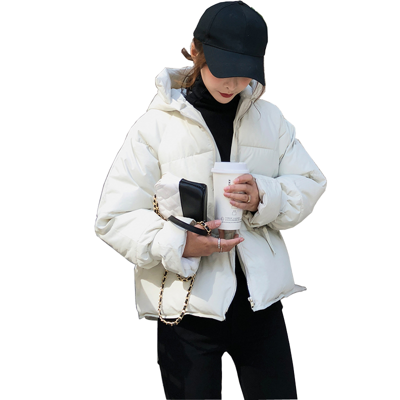 Pengpious fashion new loose cotton coat hooded Korean fashion girls short cut white coat winter warm