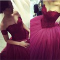 custom made burgundy cap sleeve long Quinceanera dress 2016 appliques lace sweetheart ball gown debutante dress vestido 15 anos