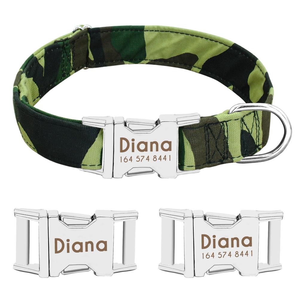Collar de perro de Nylon personalizado con placa de identificación grabada 22