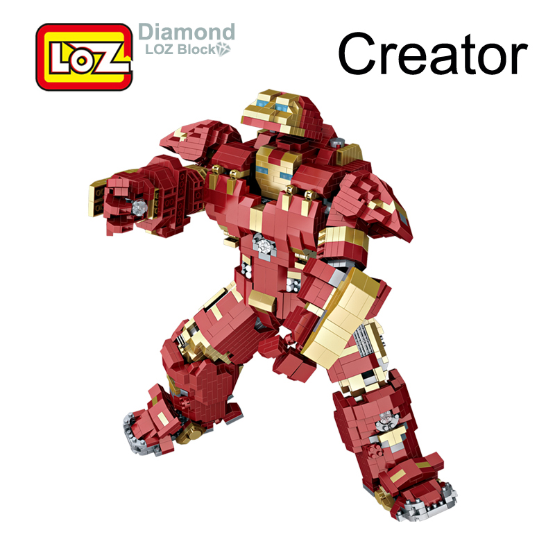 LOZ Avengers Hulkbuster 26cm 2750Pcs Action Figure Toy Assembly Blocks Toy 9045 Creator