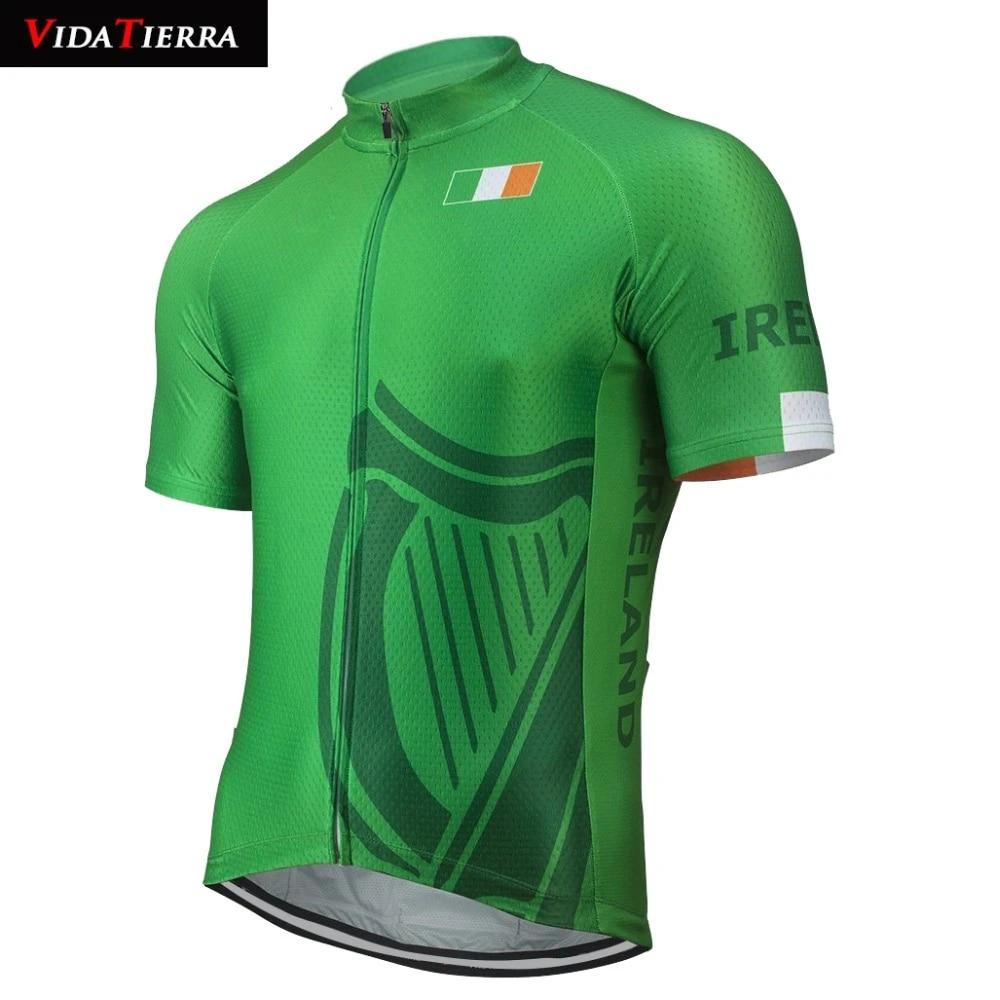 2019 VIDATIERRA men cycling jersey green Ireland national flag team lucky pro racing team go pro mtb jersey classic Fascinating