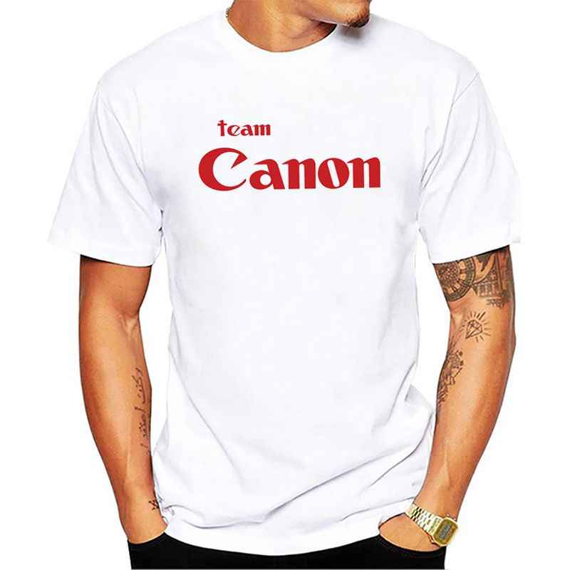 2018 new style summer Team Canon short sleeve T-shirt men's casual tees tops male white T shirt