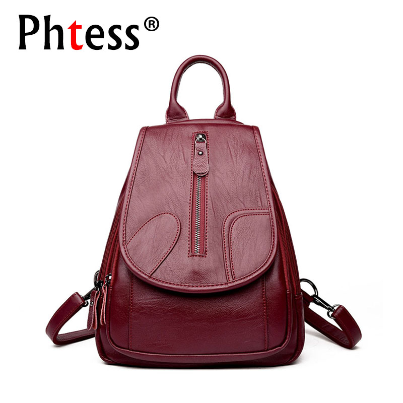 a48136059bb1 2018 Vintage Women Leather Backpacks For Girls Sac a Dos Female Backpack  College Travel Bagpack Ladies Back Pack Mochilas Girl
