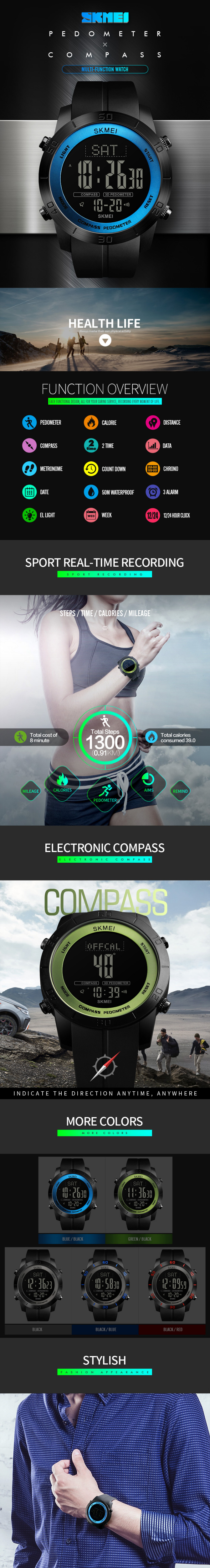 Zk30 Compass Outdoor Sports Watches Men Countdown Chronograph Alarm Watch Waterproof Digital Wristwatches Relogio Masculino 1300 Men's Watches