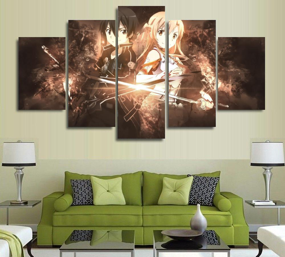 5 panel cartoon anime sword art online kirito and asuna modern home wall decor canvas picture art hd print painting canvas art