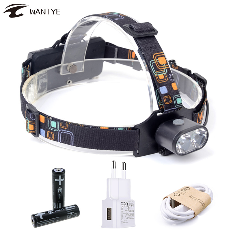 2* XML T6 Headlamp 8000LM 3 Mode LED Headlight Flashlight USB Rechargerable Head Lamp Torch Light Camping Lantern +18650 Battery 5000 lumens led headlamp xml t6 l2 led headlight lantern 4 mode waterproof head flashlight torch 18650 rechargeable battery