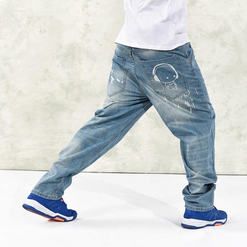 Brand Men Baggy Jeans Denim Loose Doll graffiti Hip Hop Jeans Boys Casual Skateboard Relaxed Fit Jeans Mens Wide Leg Harem Pants hot new large size jeans fashion loose jeans hip hop casual jeans wide leg jeans