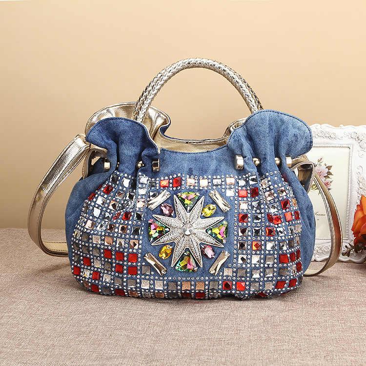 4dc07f2ba3 Woman Denim Handbags Bags Luxury Rhinestone Shoulder Bags Women s Small Totes  Bags Jean Bolsas Femininas For