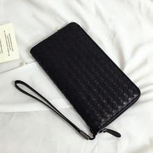 2018 High-end customization weave a cow Leather men wallet long zipper handbag