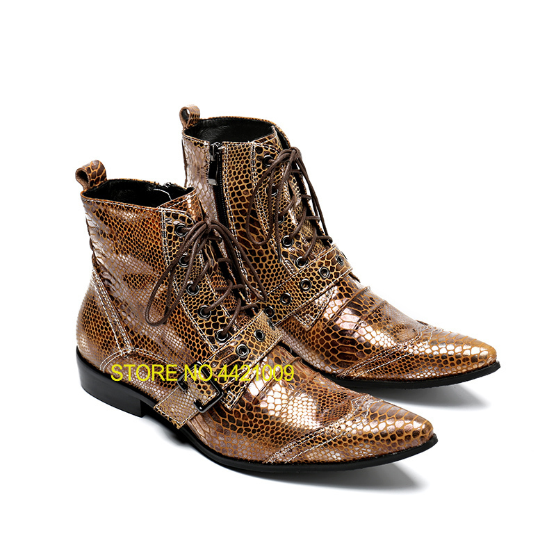 купить 2018 Punk Genuine Leather Men Ankle Boots Pointed Toe Lace Up Mens Military Cowboy Boots High Top Strap Cool Men Martin Shoes по цене 6426.44 рублей