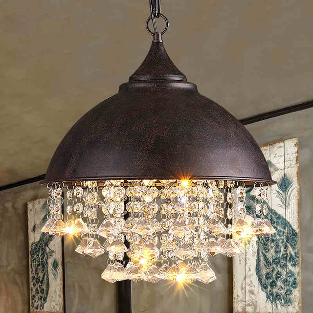 American Crystal Chandelier Retro Globe Chandeliers Lights Fixture  Industrial Vintage Birdcage Hanging Lamp Home Indoor Lighting