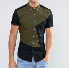 Free shipping Customize personal shirt for man short sleeve contrast color khaki twill high quality with embroidery logo QR-1526