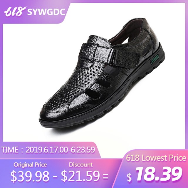 SYWGDC Genuine Leather Men Summer Sandals Breathable Casual Shoes Men Hollow Sandals Soft Moccasins High Quality Men Shoes