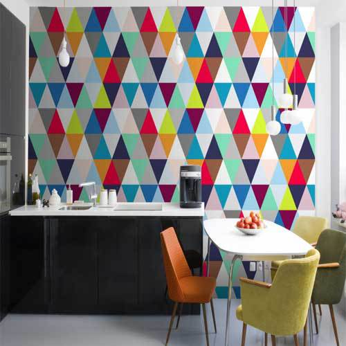 Multicoloured Triangles Geometric Wallpaper Modern Luxury Wall Mural