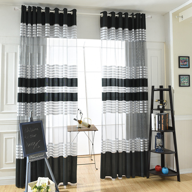 Grand Élégant Noir Blanc Polyester Tissu Moderne Simple Rayé Chambre Pure Fenêtre  Rideaux Pour Salon Tulle Rideau