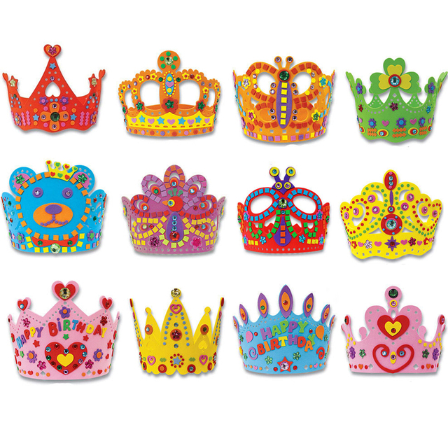 Happy Birthday Party Hat For Kids Cute King Cap Princess Crown 3D Childrens Toys Handmade Creative