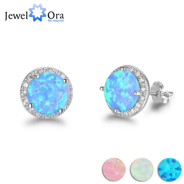 10mm Blue Opal Stone Guarantee 925 Sterling Silver Stud Earring Ocean Style  Fashion Earrings Gift For Her (Jewelora EA102018)